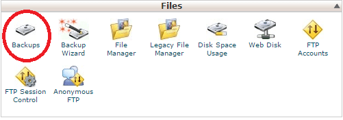 Click on Backups under Files in cPanel