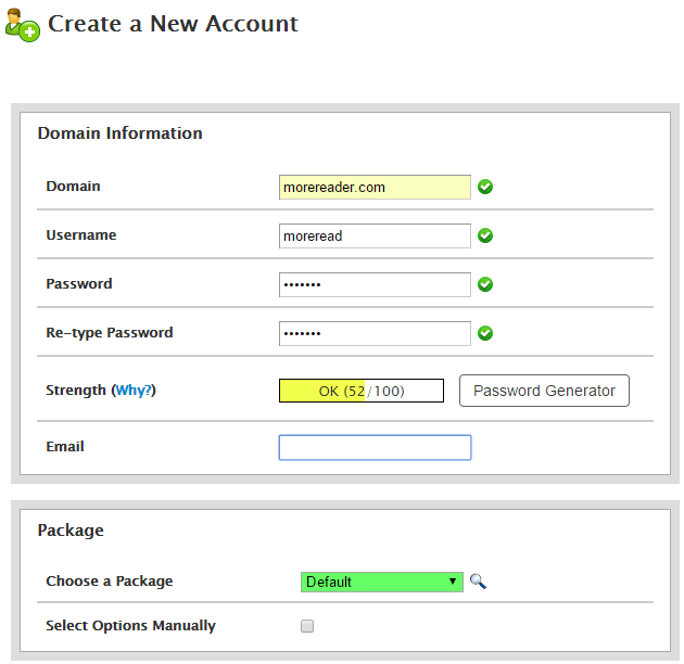 Create new cPanel account in new web hosting account