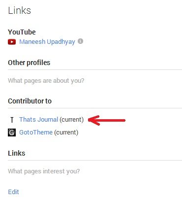Current author under contributor to section in Google+
