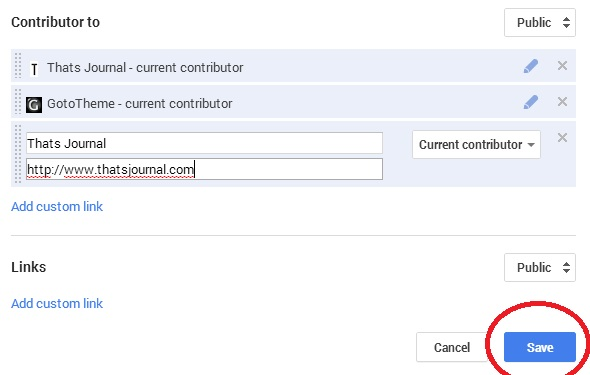 Enter Label and URL field in Google+ profile