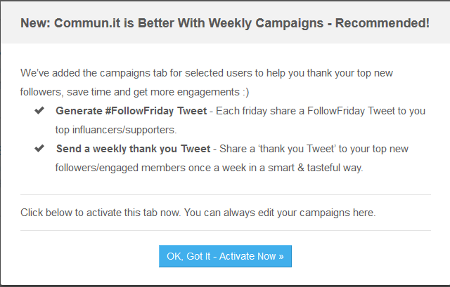 Activate automatic tweets campaigns in commun.it