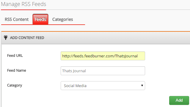 Add RSS feed in MavSocial