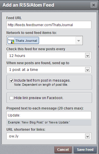 Add an RSS/Atom Feed dialog box in HootSuite