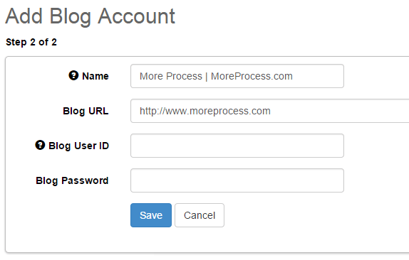 Add blog account in SocialOomph