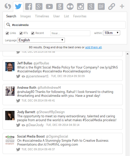 Add social media content in Storify