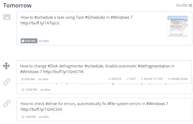 Change order of scheduled tweets in Buffer