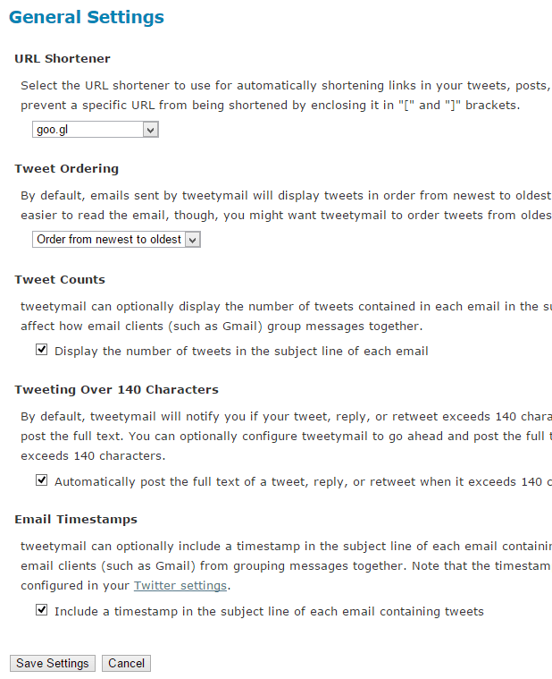 Change settings in TweetyMail