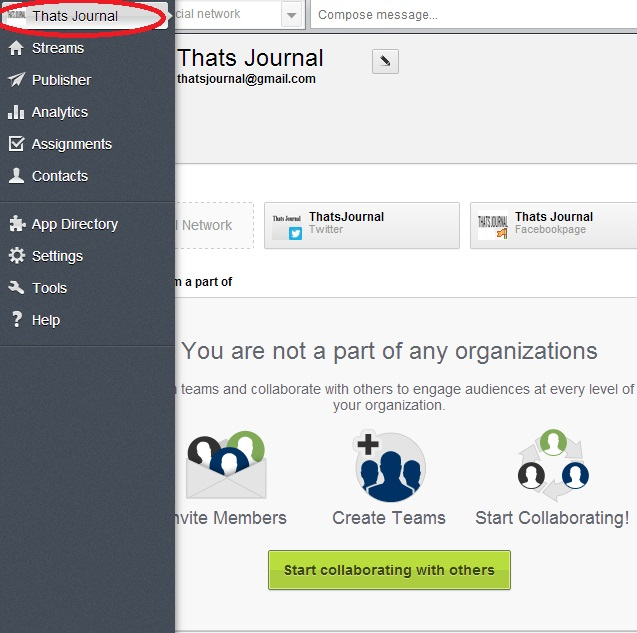 Click on Account button in left menu in Hootsuite dashboard