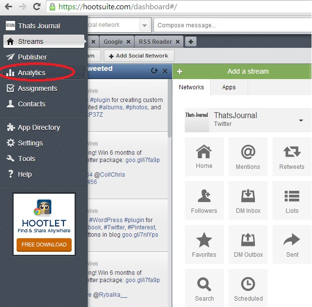 Click on Analytics on left menu in HootSuite dashboard