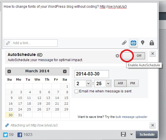 Click on Enable AutoSchedule button in HootSuite dashboard