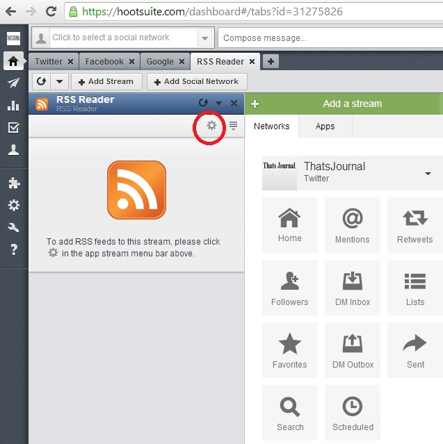 Click on Settings button in app stream menu bar in HootSuite