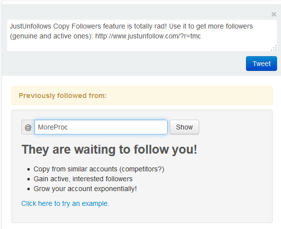 Copy followers section in JustUnfollow, free Twitter unfollowers manager