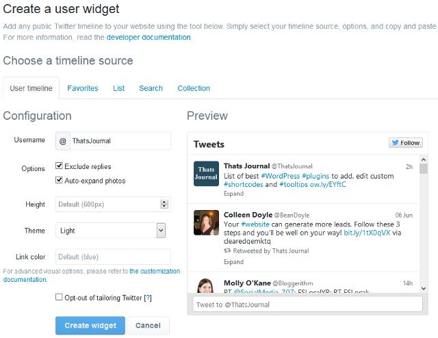Create Twitter timeline widget