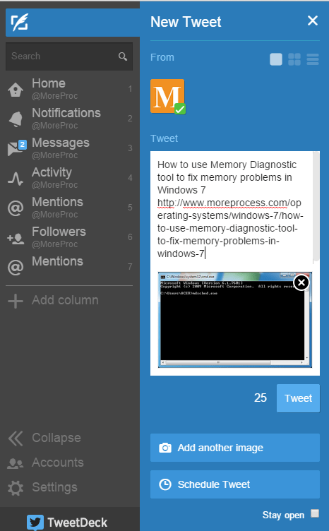 Create a tweet in TweetDeck