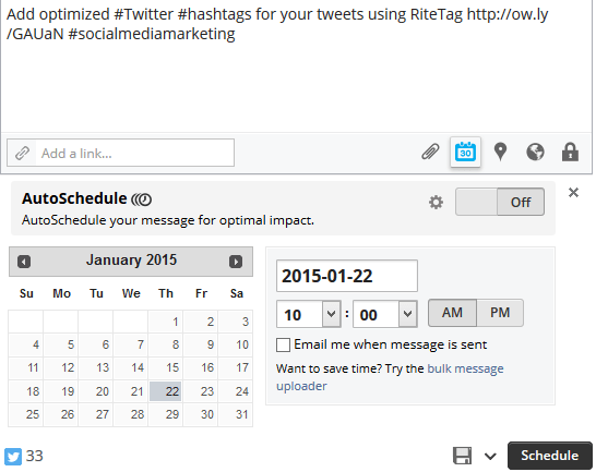 Create and schedule a tweet in HootSuite