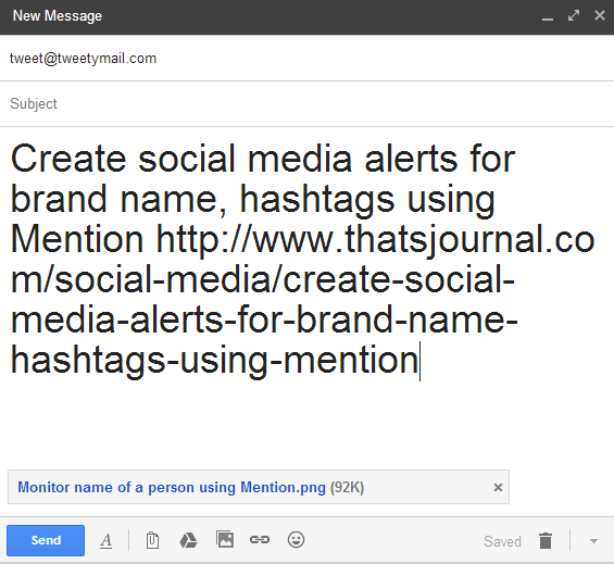 Create and send tweets from email using TweetyMail
