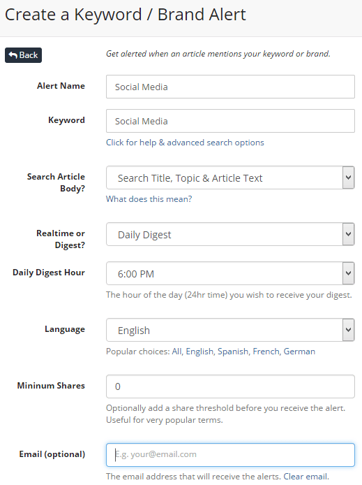 Create keyword email digest alert in BuzzSumo