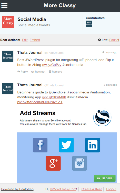 Create live Twitter blogs by using tweets in BeatStrap