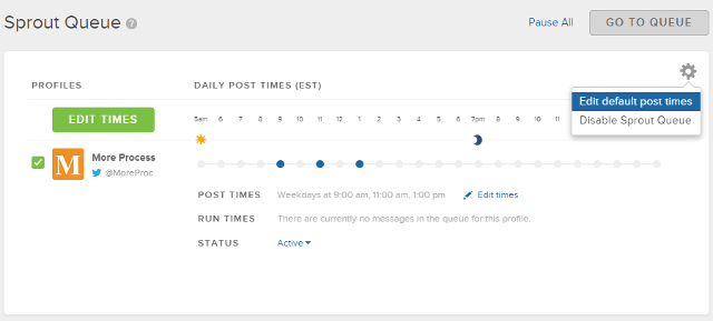 Edit posting time in queue in Sprout Social