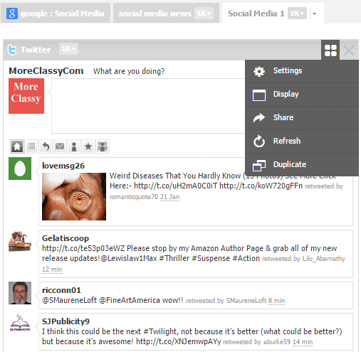 Edit widget settings in NetVibes