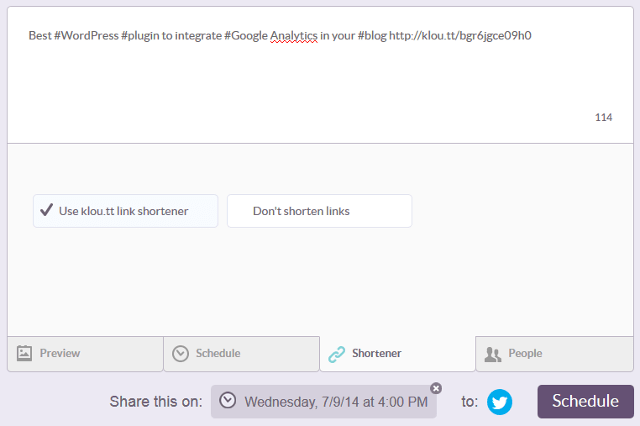 Enable or disable Klout link shortener