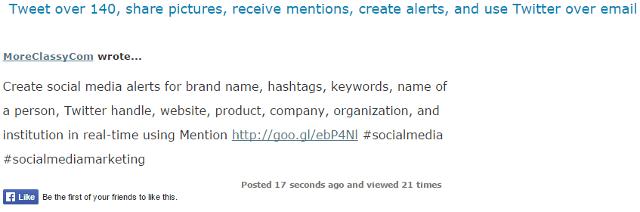 Full tweet longer than 140 characters in TweetyMail