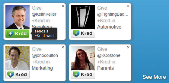 Give +Kred to a user