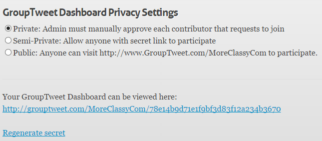 GroupTweet privacy settings