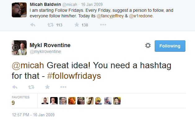 Hashtag idea for Follow Friday tweet by Mykl Roventine
