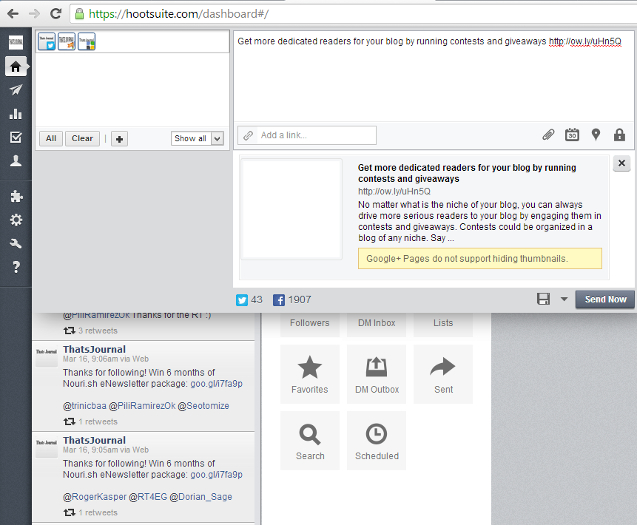 Link preview for message in HootSuite