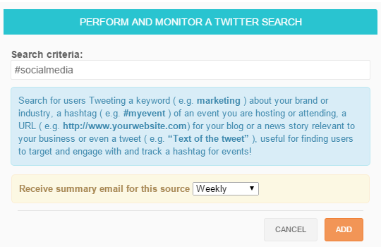 Monitor Twitter keyword and hashtag search in SocialBro