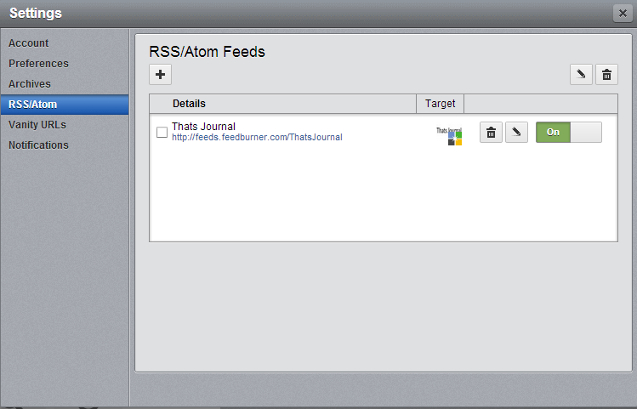 New RSS feed added in Settings dialog box in HootSuite