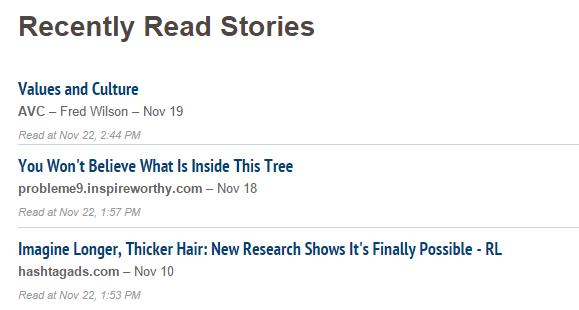 Recently read stories in Nuzzel