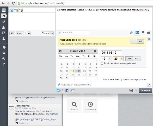Schedule a message in HootSuite