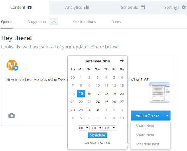 Schedule a message in social networks using Buffer