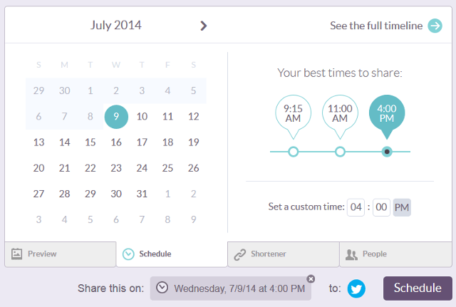 Schedule content in Klout