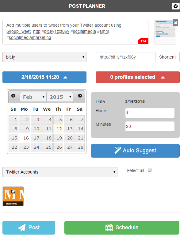 Schedule social media posts using Sociota