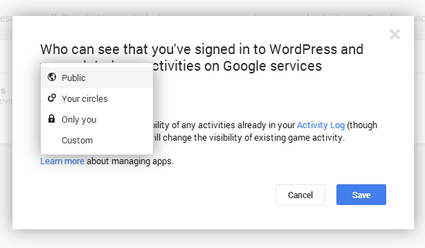Select Public from drop down menu in Google+ Apps settings