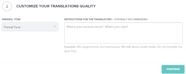 Select translation quality in Fliplingo