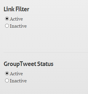 Set up link filter and enable or disable GroupTweet