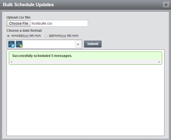 Successfully scheduled 5 messages in HootSuite