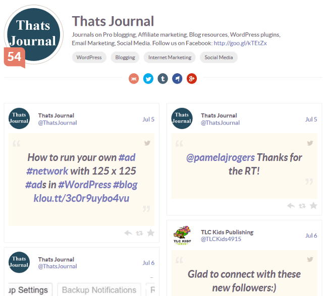 Thats Journal Klout profile page