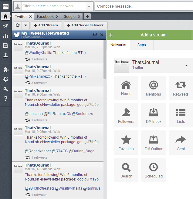 Three tabs for accessing Twitter, Facebook and Google+ streams in Hootsuite dashboard