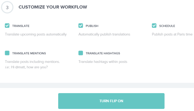 Translation settings in Fliplingo