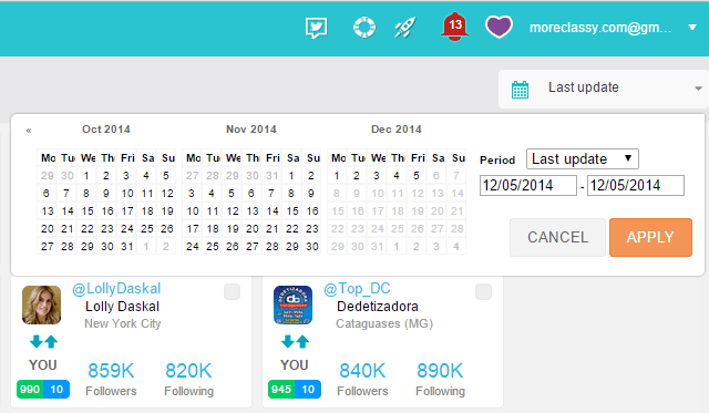 View results based on last update, custom date range in SocialBro