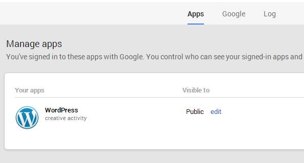 Visibility for WordPress app is set to Public in Google+