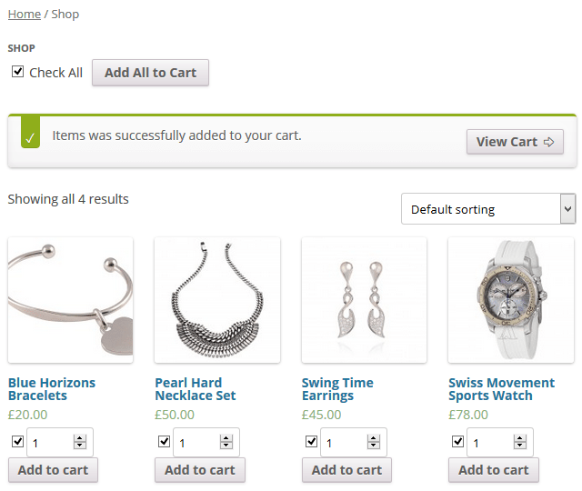 Add all products to cart in WooCommerce