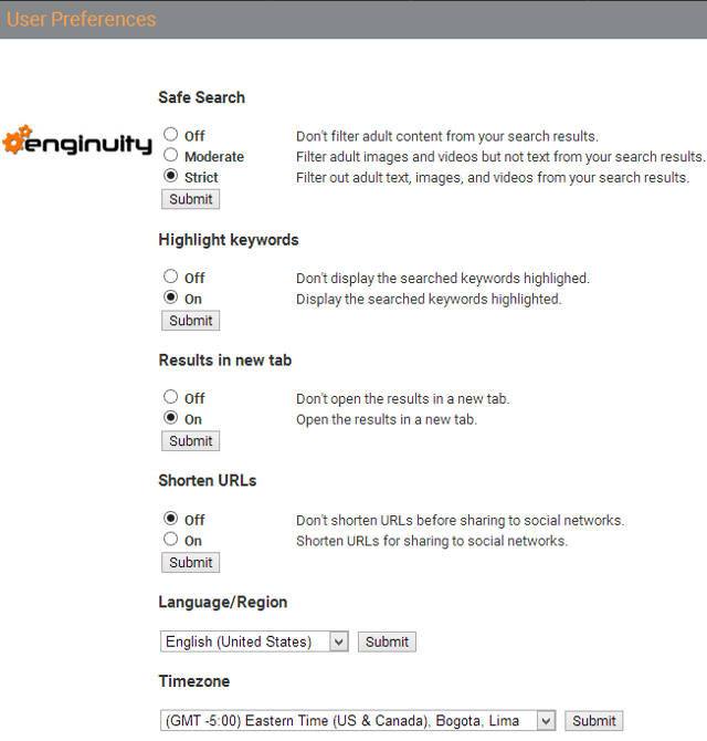 Change social search preferences in Enginuity search