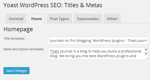 Homepage title and meta description settings for WordPress SEO by Yoast plugin
