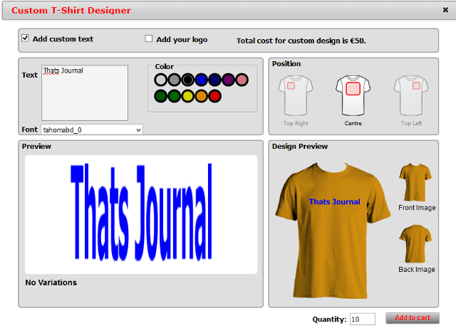 Add Custom T-shirt Designer Tool In WP e-Commerce store
